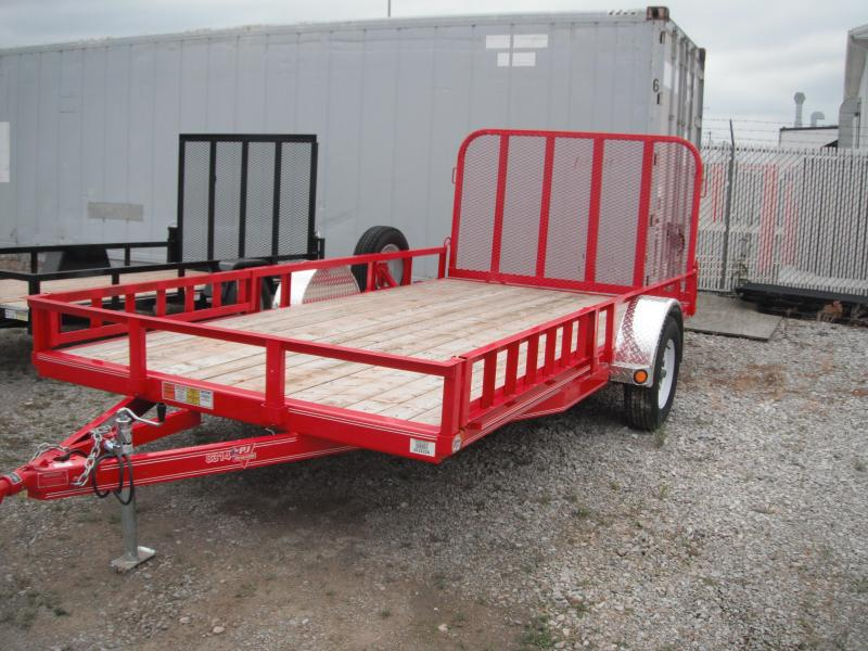 2014 83x14 PJ Trailers U8141 Utility Trailer - Red (SATG) w/ ATV Ramps & Spare Tire and Wheel w/ Mount