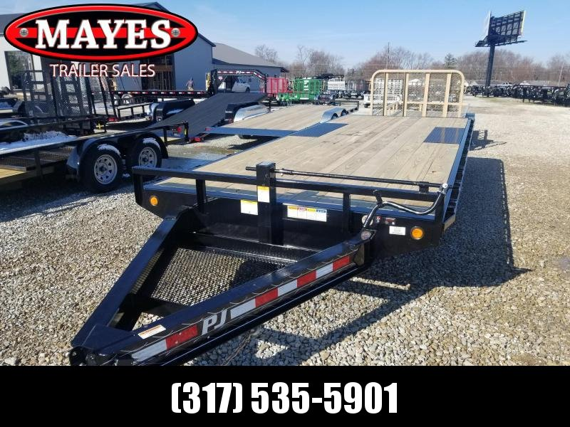 "2019 96""x20' Deckover PJ Trailers F8202 Equipment Trailer - 8"" I-Beam - Ramps (GVW:  14000)"