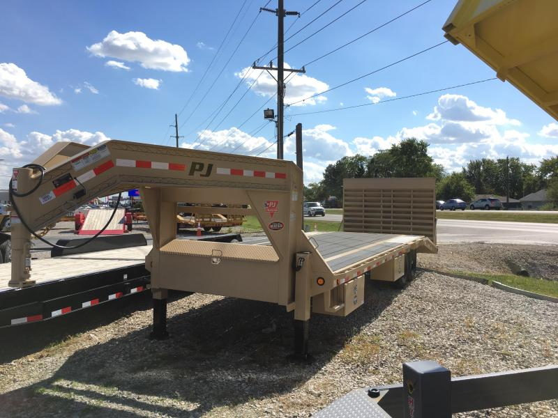 2018 102x25(20+5' Dovetail) PJ Trailers LS Flatbed Trailer - w/ 5' Powertail (GVW: 15680)(Primer + Desert Tan PowderCoat)(Hydraulic Jacks) *Gooseneck*