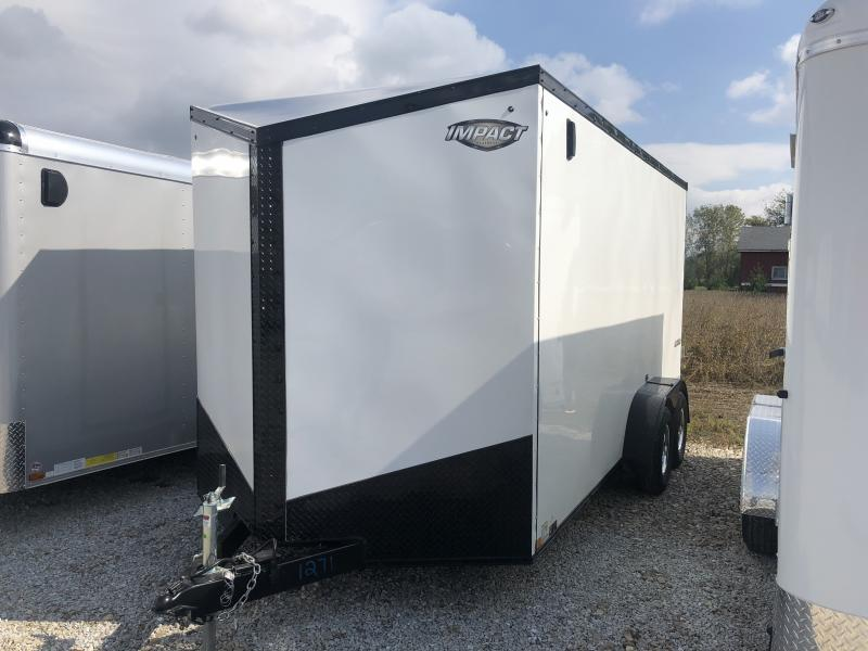 2019 7x16 Impact Trailers ITT716TA2 Enclosed Cargo Trailer - White - Ramp Door (GVW:  7000#)
