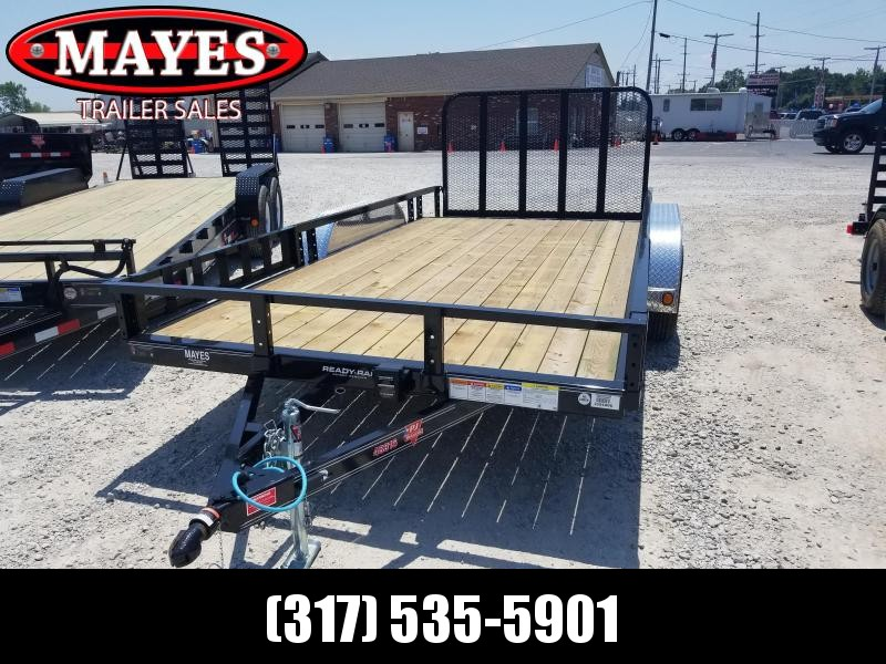 2019 83x16(14+2' Dovetail) PJ Trailers U8 Utility Trailer - w/ 4' Fold-up Gate (GVW: 7000)(ATV Ramps)