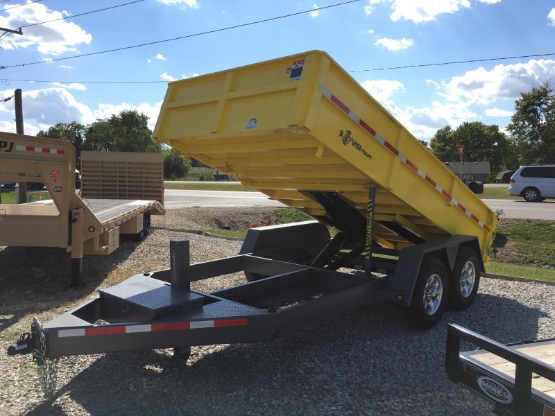 2017 82x14 B-Wise DLP14-15 Dump Trailer - (Split/Spreader Gate)(Ramps)(GVW: 15400) *Yellow w/ Grey Fenders*