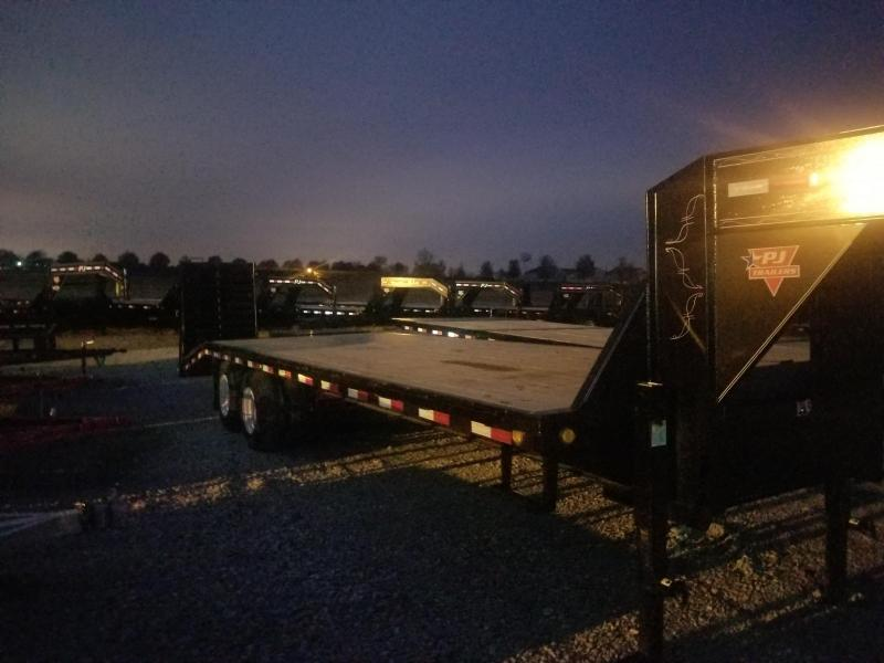 2019 102x27 (22+5' Dovetail) PJ Trailers FD Classic Flatdeck with Duals Trailer GooseNeck - w/ 2 Flip-over Monster Ramps (GVW: 25000)