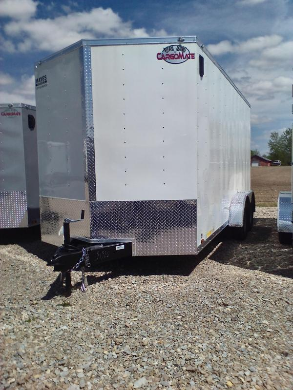 """2018 7x16 Cargo Mate EHW716TA2 Enclosed Cargo Trailer - Polar White (RD)(GVW: 7000)(Side by Side Package)(12"""" Extra Height)"""