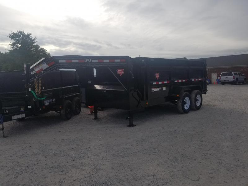 "2019 83x14 PJ Trailers DM 83"" Low Pro High Side Dump Trailer - (Split/Spreader Gate)(Tarp Kit)(GVW: 15680) Gooseneck"