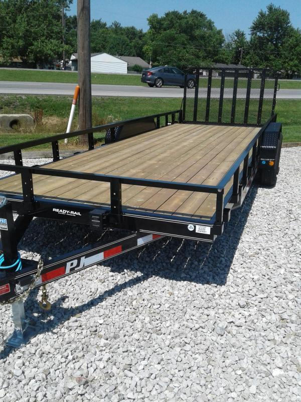 "2019 83x22(20+2' Dovetail) PJ Trailers CE 5"" Channel Equipment Trailer - w/ 4' Fold-up Gate (GVW: 9899)(U8 Side Rails)"