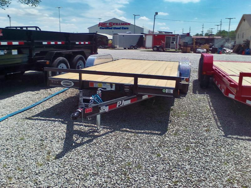 "2018 83x16 PJ Trailers C5 5"" Channel Carhauler Trailer - Straight Deck w/ 5' Slide-in Ramps (GVW: 7000)"