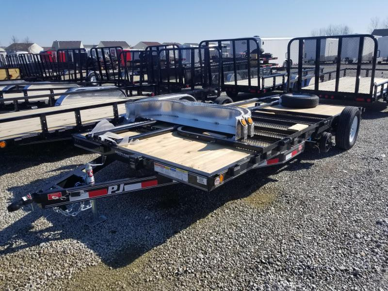 "2020 83x16 (14+2) PJ Trailers 16' x 5"" Channel Carhauler Trailer - Tailgate - 2"" Pipetop Removable Siderails (GVW:  7000)"