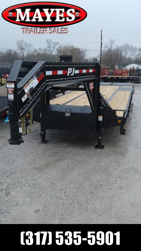 2019 102x32 (27+5) Low Pro Flatdeck Gooseneck PJ Trailers LD322 Flatbed Trailer- With Duals (GVW:  25000)