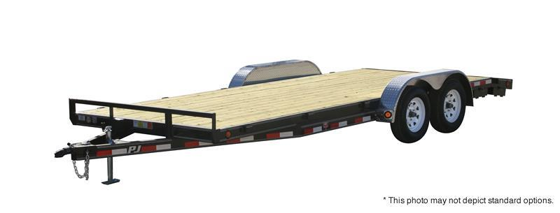 "2019 83x18 PJ Trailers C5 5"" Channel Carhauler Trailer - Straight Deck w/ 5' Rear Slide-in Ramps (GVW: 7000)"