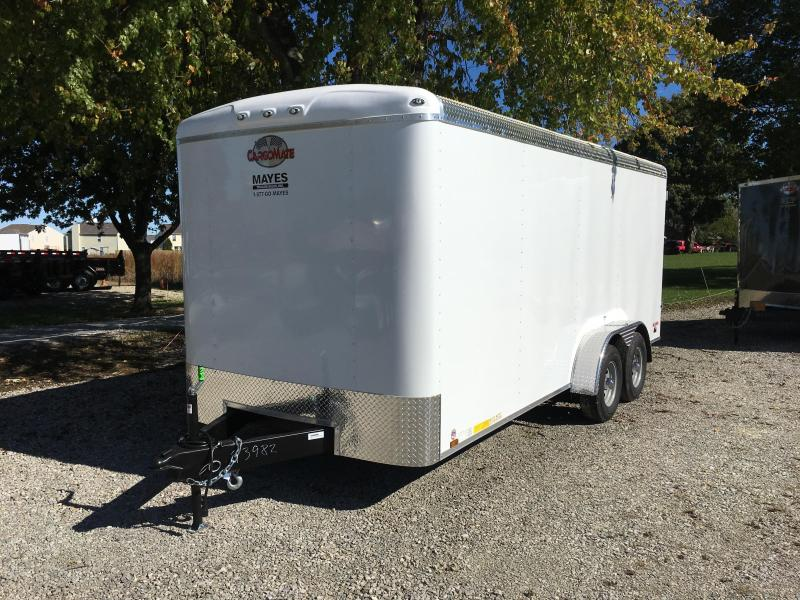 2018 7x18 Cargo Mate BL718TA3 Enclosed Cargo Trailer - Polar White (DD)(GVW: 9800) atp roof cove gal roof 2 12vled lights