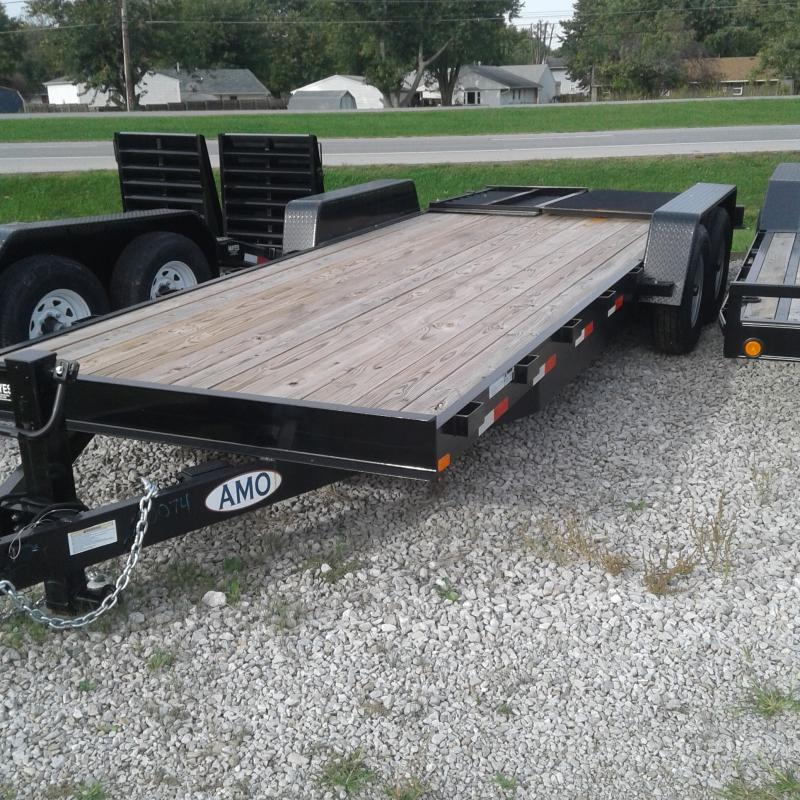 2018 82x20(18+2 Dovetail) American Manufacturing Operations A1418CE Equipment Trailer - w/ HD Split Gate (GVW: 14000)