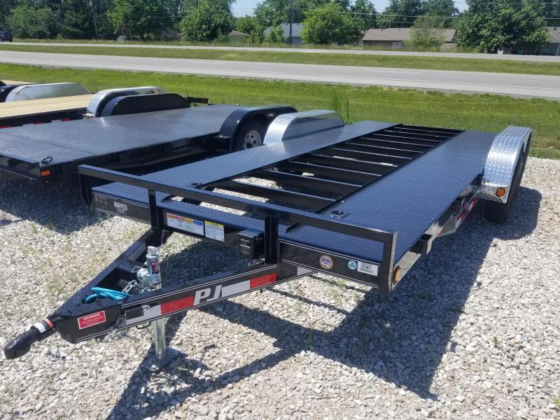 "2019 83x18(16+2' Dovetail) PJ Trailers C5 5"" Channel Carhauler Trailer - w/ 5' Rear Slide-in Ramps (GVW: 7000)(Open Pit Steel Floor)"