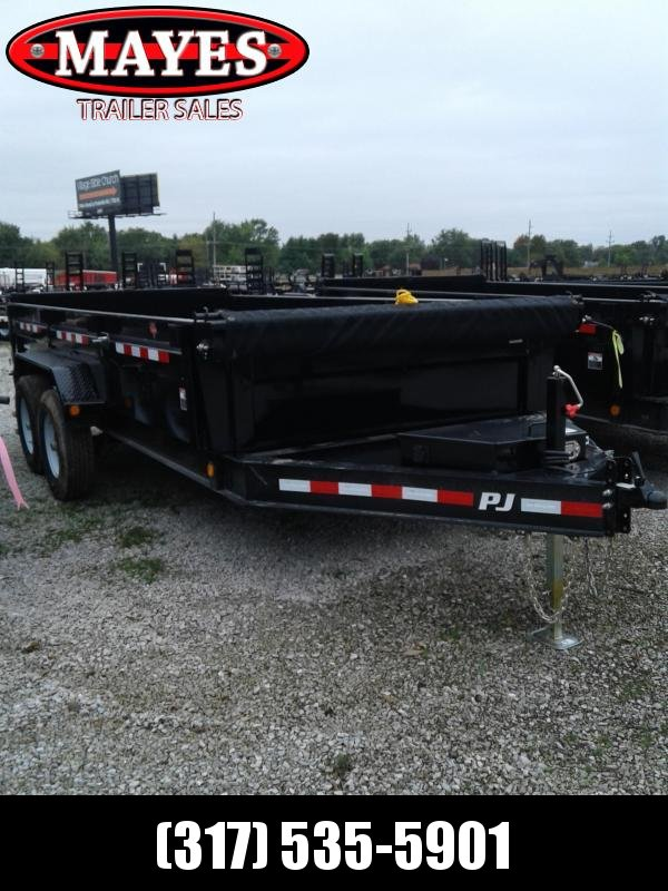 2019 83x16 PJ Trailers DL142 Low Pro Dump Trailer - Split/Spread Gate - Tarp Kit (GVW:  14000)