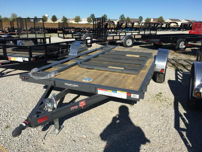 2018 77x12 PJ Trailers U7 Trailer - Straight Deck w/ 4' Fold-up Gate (GVW: 2990) *Grey Powdercoat* *Black Spoke Wheels*