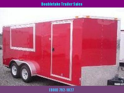 7 X 16 Red Enclosed Concession Trailer - Vending Trailer