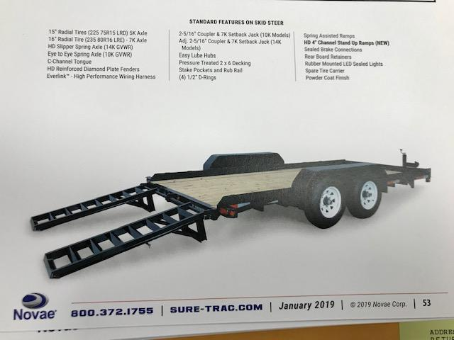 2020 Sure-Trac 7 X 20 14K Skid Steer Implement Equipment Trailer