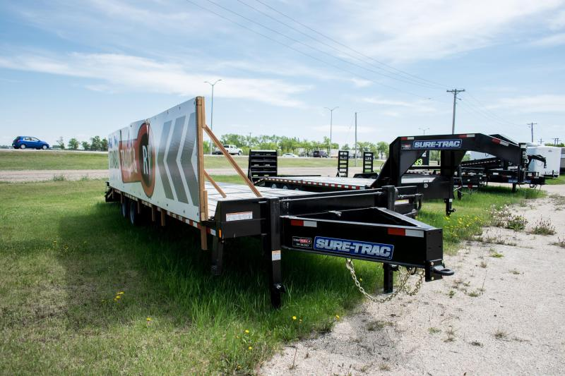 2019 Sure-Trac 8.5 x 25+5 Pintle Hitch Heavy Duty Low Profile Beavertail Deckover Flatbed Trailer