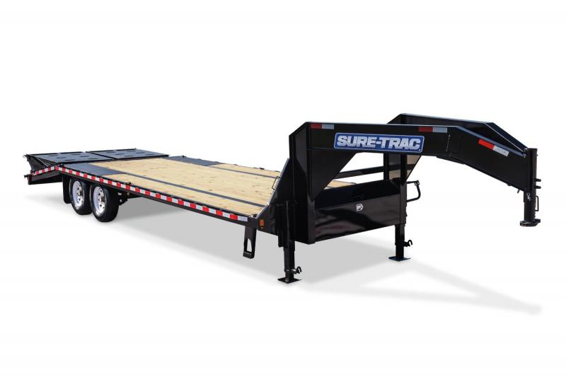 2020 Sure-Trac 8.5 x 25 + 5 25.9K Gooseneck Heavy Duty Low Profile Beavertail Deckover Flatbed Trailer