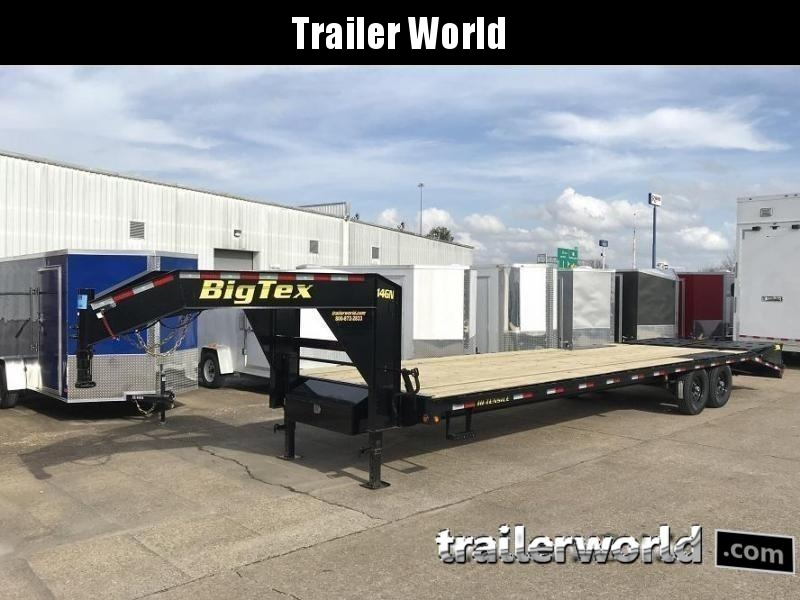 2019 Big Tex Trailers 14GN-25' + 5' Flatbed Equipment Trailer MEGA RAMPS