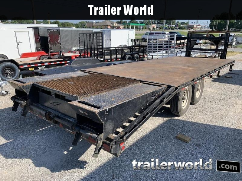 2014 Big Tex Gooseneck 14GN-20' + 5' Flatbed Center Pop-up Tail Equipment Trailer