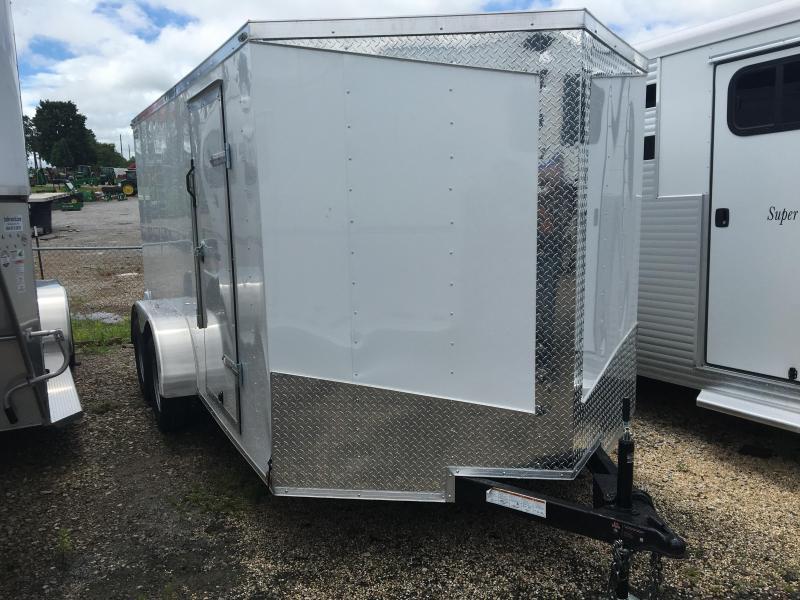 2017 Lark 7' x 14' Enclosed V Nose Cargo Trailer Ramp door