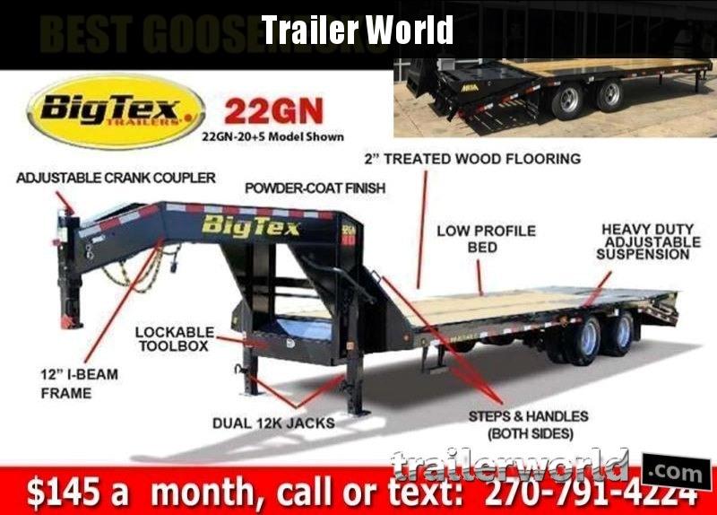 2018 Big Tex Trailers 22GN-20' + 5' Equipment Trailer MEGA Ramps