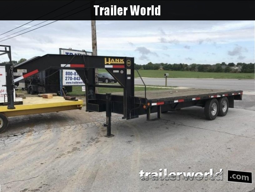 2007 Hank 20' Gooseneck Flatbed Equipment Trailer 7 Ton