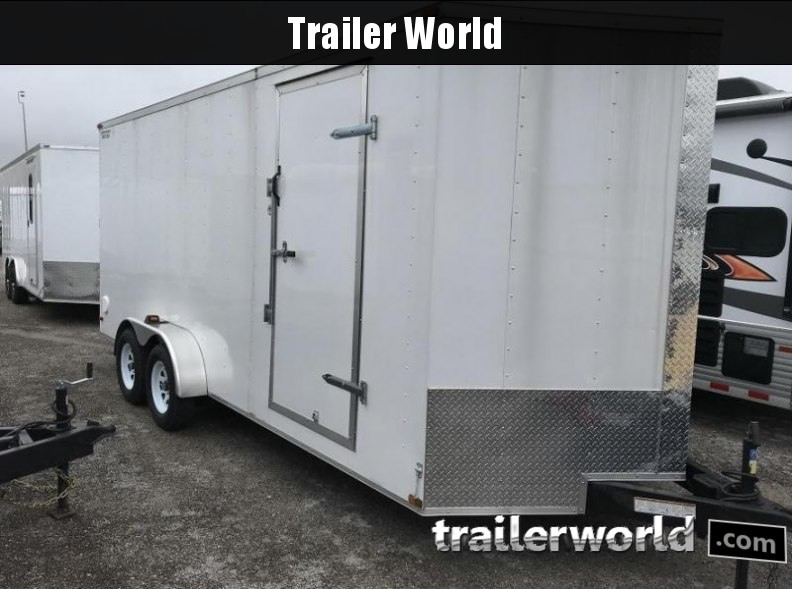 2014 Lark 7' x 18' x 7' Vnose Enclosed Ramp Door