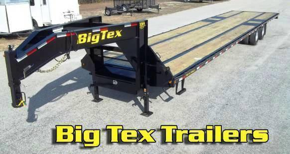2017 Big Tex 22GN-40' Gooseneck Flatbed Trailer Slide-In Ramps