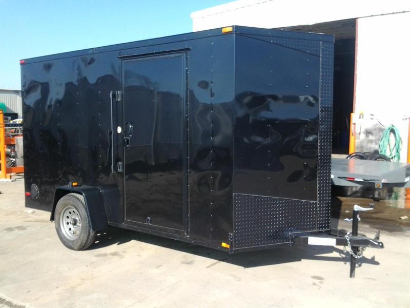 2015 Lark 6' x 12' x 6.5' Vnose Enclosed Cargo Trailer Black Out