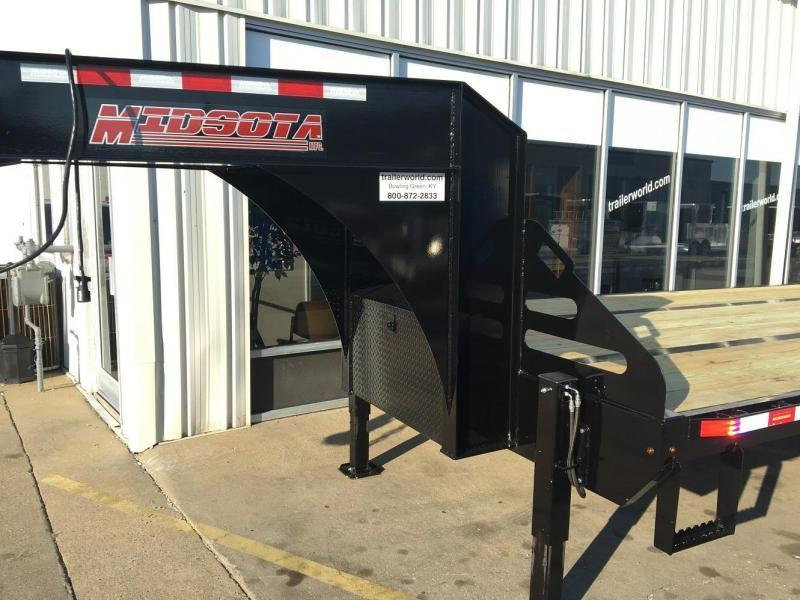 2018 Midsota FBGN 32' Hydraulic Dovetail Flatbed Gooseneck Equipment Trailer
