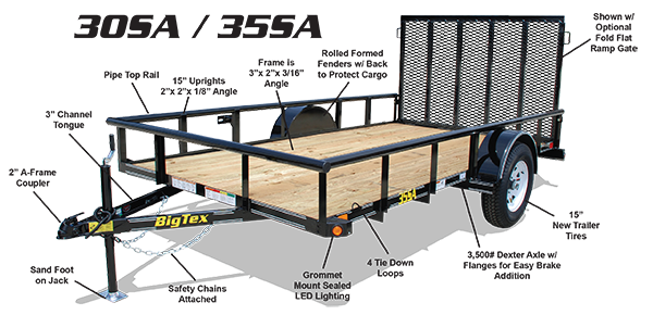 2016 Big Tex 35SA 12' x 6.5' Utility Trailer