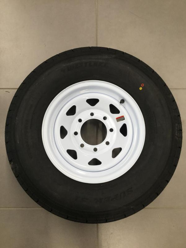 "16"" 8 Lug White Mod w/ 235 West Lakes"