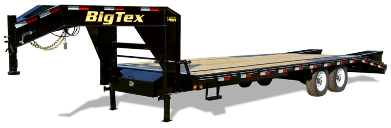 2019 Big Tex 14GN - 20' Flat Deck + 5' Mega Ramps Gooseneck Trailer