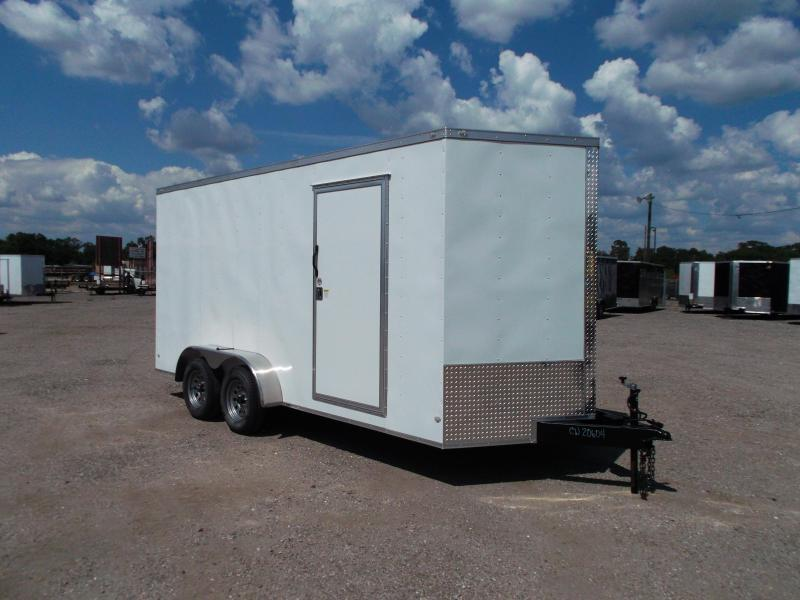 2018 Covered Wagon Trailers 7x16 Tandem Axle Cargo Trailer / Enclosed Trailer / 7ft Interior / Ramp / RV Door / LEDs
