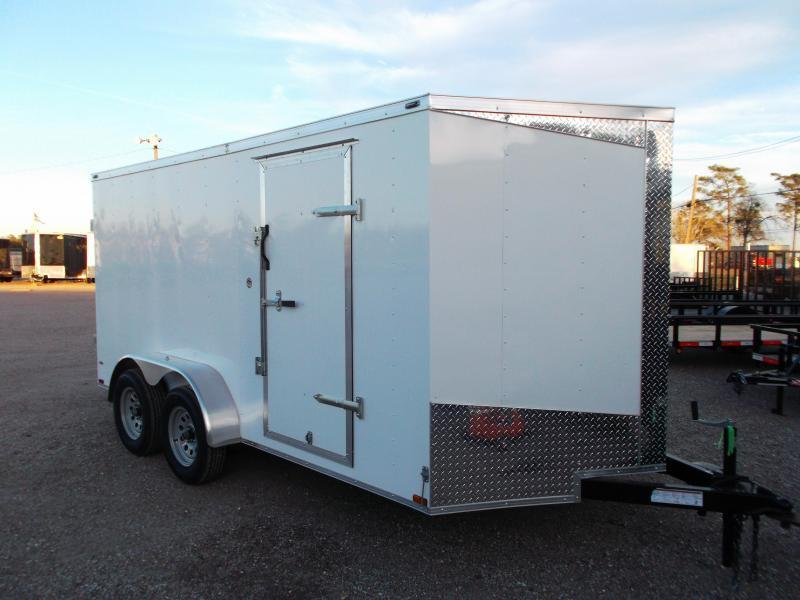 2019 Lark 7x14 Tandem Axle Cargo Trailer / Enclosed Trailer / Barn Doors / LEDs - BLACK