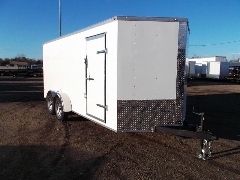 "2019 Texas Select 7x16 Tandem Axle Cargo Trailer / Enclosed Trailer / Ramp / 6'6"" Interior / Side Door / LEDs"