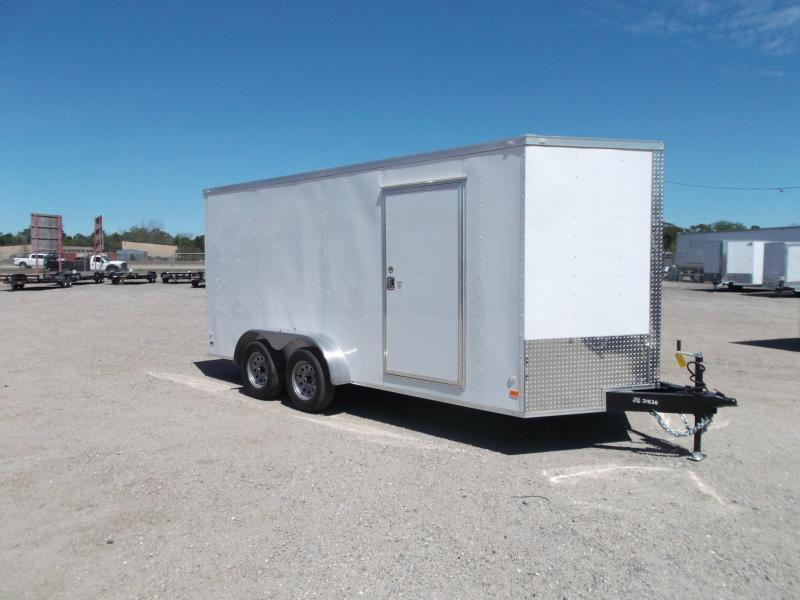 "2019 Covered Wagon Trailers 7x16 Tandem Axle Cargo Trailer / Enclosed Trailer / 6'6"" Interior / RV Door / LEDs"