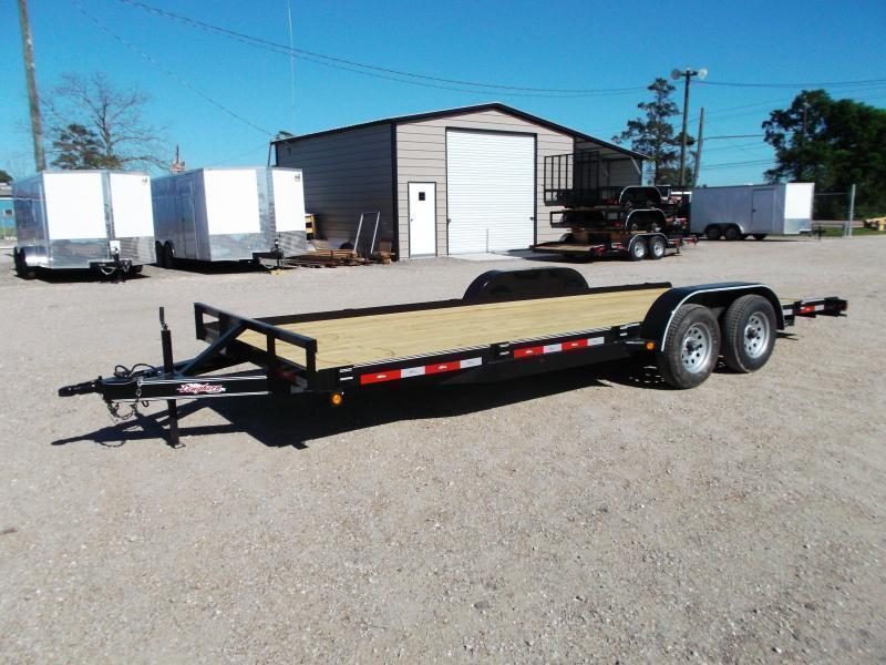 2018 Longhorn Trailers 20ft 7K Flat Deck / Car Hauler / Racing Trailer w/ Straight Deck / 5ft Ramps