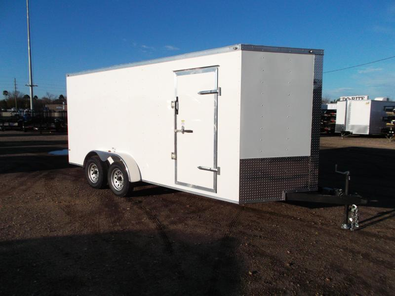 "2019 Texas Select 7x16 Tandem Axle Cargo Trailer / Enclosed Trailer / Ramp / 6'6"" Interior / Side Door / LEDs"