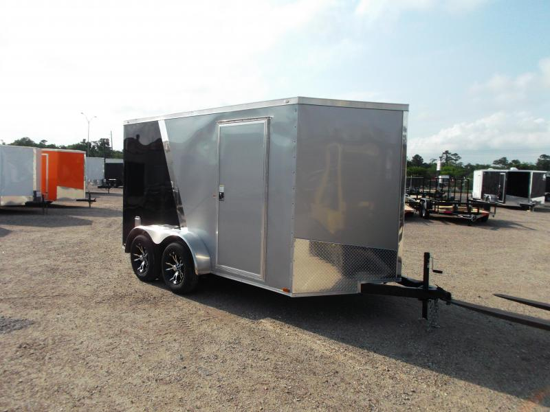2016 Spartan Cargo 7x12 Tandem Motorcycle / Enclosed Trailer w/ Mags & Silver / Black Slant Metal Package