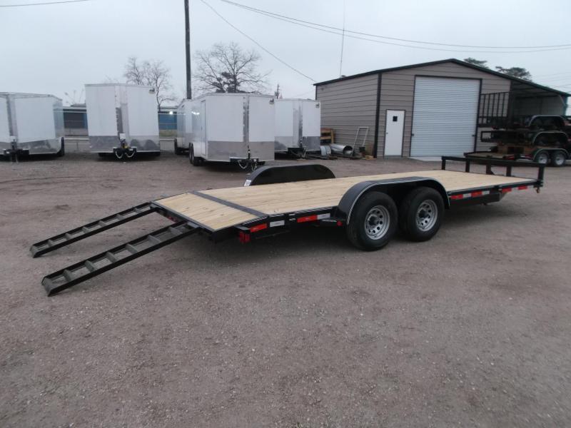 2019 Longhorn Trailers 20ft Tandem Axle 10K Car Hauler / Racing Trailer / Flat Deck / 5200# Axles / 7K Jack / 2ft Dovetail / 5ft Ramps