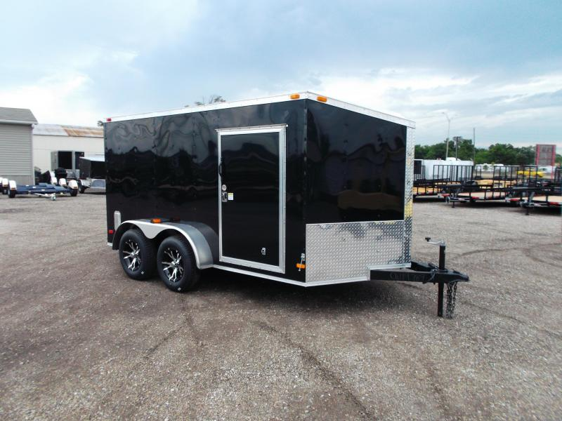 2016 Covered Wagon Trailers 7x12 Tandem Axle Semi-Low Profile Motorcycle Trailer w/ Slant V-Nose