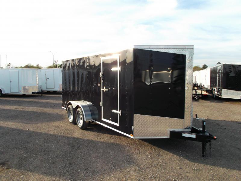 2019 Lark 7x16 Tandem Axle Cargo Trailer / Enclosed Trailer / Barn Doors / Side Door / LEDs