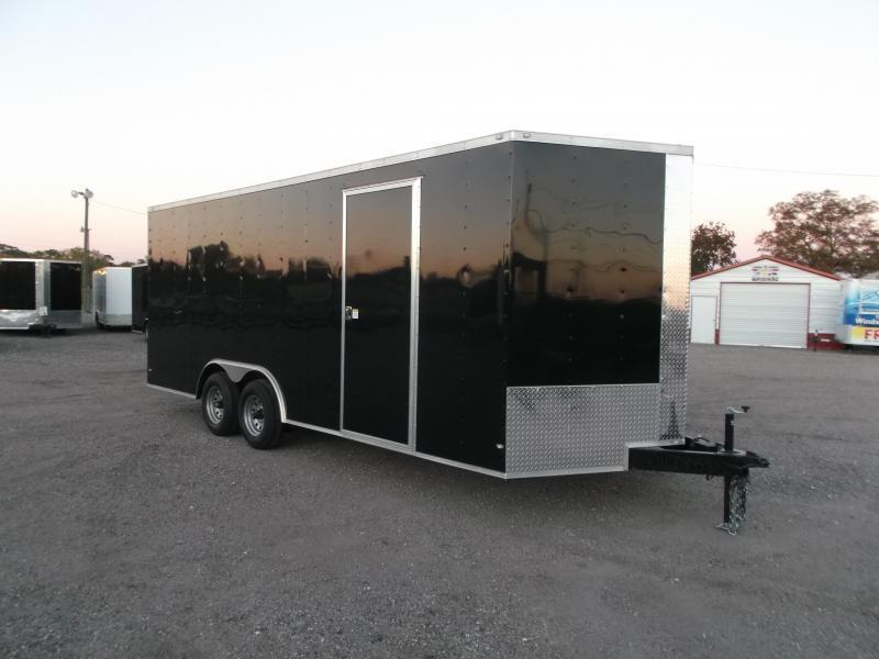 2018 Covered Wagon Trailers 8.5x20 Tandem Axle Cargo / Enclosed Trailer w/ 7ft Interior / 5200# Axles / RV Side Door / LEDs