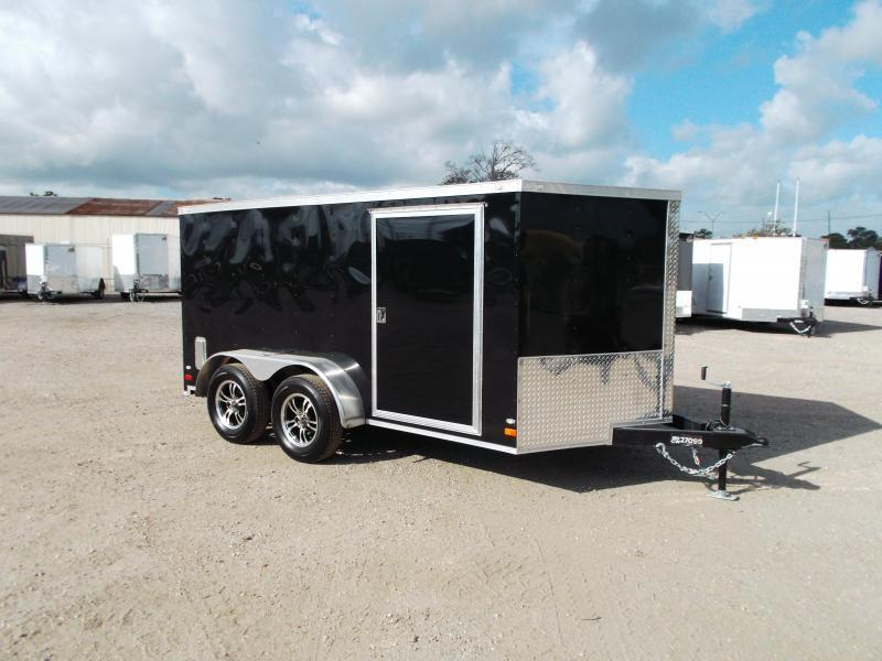 SPECIAL - 2019 Covered Wagon Trailers 7x12 Tandem Axle Low Profile Motorcycle Trailer / Cargo Trailer / Ramp / LEDs / (8) D-Rings