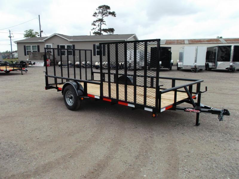 2020 Longhorn Trailers 83x14 Single Axle Utility Trailer w/ Pipetop / 4ft Heavy Duty Rear Ramp / Side Load Ramp Gate