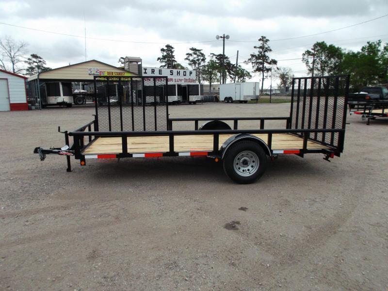 2020 Longhorn Trailers 83x14 Single Axle Utility Trailer w/ Pipetop / 4ft Heavy Duty Rear Ramp / Side Load Ramp Gate