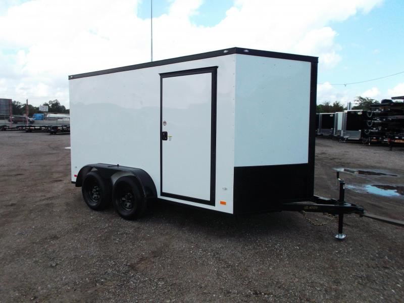 2019 Covered Wagon Trailers 7x12 Tandem Axle Motorcycle Trailer / Cargo Trailer / Black Out Package / V-Nose / Ramp / LEDs